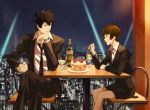 1boy 1girl black_hair bottle brown_eyes brown_hair cake cup food fork formal kougami_shin'ya necktie pantyhose psycho-pass rontaso short_hair sitting skirt suit tsunemori_akane wine wine_glass