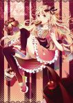 1girl baumkuchen blonde_hair cake cherry chocolate clover dress eating food fork four-leaf_clover fruit highres ice_cream long_hair orange_eyes panties ribbon sakura-sou_no_pet_na_kanojo shiina_mashiro solo underwear