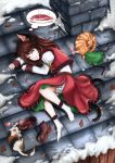 alternate_costume alternate_hairstyle bell cat chen dreaming fish hat hat_removed headwear_removed highres long_hair lying rooftop saliva skyspace sleeping snow touhou