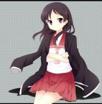 1girl crossed_arms hakone_(miki) jacket long_hair saki school_uniform sitting tsujigaito_satoha