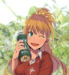 1girl ;d bottle brown_hair hino_akane_(idolmaster) idolmaster idolmaster_cinderella_girls kusanagi_kaoru long_hair open_mouth ponytail smile solo sweat wink