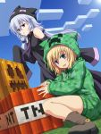 2girls blonde_hair blue_eyes creeparka creeper enderman highres hoodie long_hair minecraft multiple_girls personification shira-nyoro short_hair silver_hair violet_eyes