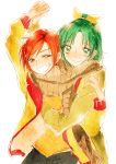 2girls green_eyes green_hair grin hino_akane holding_hands hug looking_at_viewer midorikawa_nao multiple_girls precure redhead scarf shared_scarf short_hair simple_background smile smile_precure! tima white_background