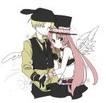1boy 1girl angel_wings blonde_hair blush full_moon_wo_sagashite gloves hashimochi holding_hands izumi_rio long_hair meroko_yui midriff pink_hair short_hair skirt wings wrist_cuffs yellow_eyes