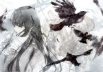 1girl abstract_background bare_shoulders bird black_eyes black_hair crow from_behind kiyohara_hiro lips long_hair looking_back muted_color original parted_lips profile solo topless zipper