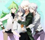 4boys baseball_cap blue_eyes crossover dangan_ronpa green_hair grey_eyes hat hoodie jacket kagio_(muinyakurumi) komaeda_nagito long_hair makishima_shougo male multiple_boys n_(pokemon) nagisa_kaworu neon_genesis_evangelion pokemon pokemon_(game) pokemon_bw ponytail psycho-pass red_eyes smile super_dangan_ronpa_2 white_hair