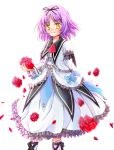 1girl ascot bow dress eiyuu_densetsu falcom flower frills petals purple_hair red_rose renne ribbon rokuka rose rose_petals short_hair smile socks solo sora_no_kiseki white_background yellow_eyes