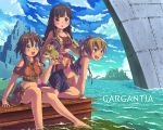 3girls amy_(suisei_no_gargantia) animal bag barefoot brown_hair feet_in_water fringe green_eyes highres long_hair melty_(suisei_no_gargantia) multiple_girls ocean saaya_(suisei_no_gargantia) ship short_hair skirt soaking_feet suisei_no_gargantia water yellow_eyes