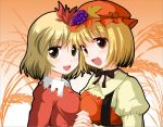 2girls aki_minoriko aki_shizuha apron blonde_hair breast_press dress food fruit gradient gradient_background grapes hat holding_hands interlocked_fingers kinagi_yuu leaf_hair_ornament looking_at_viewer multiple_girls neck_ribbon plant ribbon siblings sisters symmetrical_docking touhou yellow_eyes