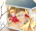 2girls ^_^ aki_minoriko aki_shizuha blonde_hair blurry book box branch child_drawing closed_eyes crayon curtains depth_of_field dress eggplant eyebrows face_down food fruit grapes hat highres leaf leaf_hair_ornament legs_apart long_sleeves lying maple_leaf multiple_girls no_shoes notebook on_stomach rug short_hair siblings sisters sitting smile stool touhou waribaship wind window wooden_floor