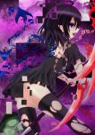 1girl ahoge asymmetrical_wings backless black_hair clouds disintegration dress earrings fangs feather_quilt gradient gradient_background highres houjuu_nue jewelry looking_at_viewer looking_back open_mouth pointy_ears polearm purple_background short_hair solo thigh-highs torn_thighhighs touhou trident ufo violet_eyes weapon wings