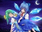 2girls :o blue_eyes blue_hair carrying cirno crescent_moon daiyousei dress fairy_wings grass green_hair lake leaning lely looking_at_viewer moon multiple_girls night night_sky princess_carry ribbon short_hair short_sleeves side_ponytail sky touhou unconscious wings