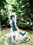 1girl blue_hair boots forest hair_bobbles hair_ornament hands_in_pockets hat highres kawashiro_nitori kicking nature pond ripples short_hair short_twintails shorts solo standing_on_one_leg stufquin touhou tree twintails wading water