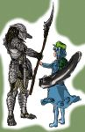 alien alien_(movie) armor blue_hair dress gauntlets hat helmet highres judgemasterkou kawashiro_nitori pauldrons polearm predator predator_(film) shoes shoulder_cannon simple_background spear touhou weapon xenomorph