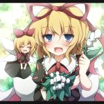1girl blonde_hair blue_eyes bow closed_eyes fairy_wings flower hair_bow hair_ribbon letterboxed lily_of_the_valley medicine_melancholy multiple_girls open_mouth puffy_sleeves ribbon shirt short_sleeves skirt smile su-san taku10 touhou wings