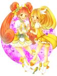 2girls bike_shorts blonde_hair blush boots bow brown_eyes brown_hair choker color_connection cure_peace cure_rosetta dokidoki!_precure double_bun dress flower hair_flower hair_ornament hair_ribbon hands_together highres kise_yayoi long_hair magical_girl multiple_girls precure purple_background ribbon shorts_under_skirt skirt smile star starry_background title_drop totogami_toto twintails yellow_dress yellow_eyes yotsuba_alice