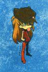 1girl blue_eyes bubblegum evangelion:_3.0_you_can_(not)_redo eyepatch highres long_hair neon_genesis_evangelion orange_hair plugsuit rebuild_of_evangelion shikinami_asuka_langley solo souryuu_asuka_langley tagro track_jacket