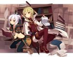 2girls black_gloves blonde_hair brown_eyes cape dress fingerless_gloves flat_chest gloves hair_ornament hair_ribbon hairclip hijiri_(resetter) long_hair long_sleeves looking_at_viewer midriff multiple_girls overskirt pants pixiv_fantasia pixiv_fantasia_new_world ponytail red_dress red_eyes red_legwear ribbon shirt short_sleeves silver_hair skirt thigh-highs
