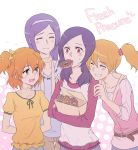 4girls aono_miki blonde_hair casual closed_eyes doughnut eating fresh_precure! grin hairband higashi_setsuna long_hair momozono_love mouth_hold multiple_girls negom orange_hair precure purple_hair short_hair side_ponytail smile title_drop yamabuki_inori