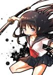 1girl akemi_homura black_hair grey_eyes hair_in_mouth hairband katana long_hair mahou_shoujo_madoka_magica neckerchief school_uniform serafuku skirt solo sword weapon yoshinogai