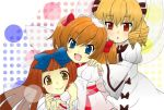 3girls :o arm_grab blonde_hair blue_eyes bow brown_hair dress drill_hair fairy_wings fang hair_bow hand_on_another's_shoulder hat headdress hug hug_from_behind juliet_sleeves long_sleeves looking_at_viewer luna_child multiple_girls open_mouth polka_dot polka_dot_background puffy_sleeves red_eyes redhead simple_background star_sapphire sunny_milk torika touhou twintails white_background wings yellow_eyes