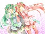 2girls ahoge aqua_eyes cherry detached_sleeves food fruit green_hair hatsune_miku long_hair multiple_girls necktie open_mouth pink_eyes pink_hair sakura_miku skirt thigh-highs very_long_hair vocaloid yuruno