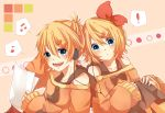! :d :o blonde_hair blue_eyes bow hair_ornament hairclip headphones kagamine_len kagamine_rin looking_at_viewer mikan_(kuriyu405) musical_note necktie open_mouth paper short_hair smile vocaloid
