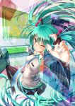 1girl aqua_eyes aqua_hair black_legwear blush erokosei hands hatsune_miku heads-up_display highres instrument keyboard_(instrument) long_hair nail_polish necktie skirt smile solo thigh-highs twintails very_long_hair vocaloid wink