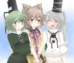 3girls blush breasts brown_eyes brown_hair commentary_request green_eyes green_hair hammer_(sunset_beach) hat large_breasts long_hair mononobe_no_futo multiple_girls ponytail short_hair silver_hair smile soga_no_tojiko tate_eboshi touhou toyosatomimi_no_miko