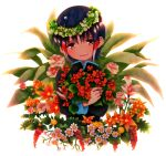 1boy blush flower hair_ornament highres inazuma_eleven_(series) inazuma_eleven_go male natsuhachi open_mouth short_hair shuu_(inazuma_eleven) solo white_background