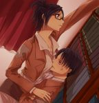 1boy 1girl anger_vein annoyed black_hair book breasts glasses hanji_zoe jacket long_hair noah_0628 reaching rivaille shingeki_no_kyojin short_hair uniform