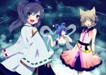 3girls acoko bare_shoulders blue_eyes blue_hair bracelet breasts brown_eyes brown_hair cleavage detached_sleeves dress earmuffs flower grey_hair hair_ornament hair_rings hair_stick hat jewelry kaku_seiga large_breasts mononobe_no_futo multiple_girls open_mouth ponytail shawl smile tate_eboshi touhou toyosatomimi_no_miko