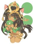 1girl animal_ears bastet_(p&d) black_hair blade_(galaxist) cat_ears cat_tail dark_skin green_eyes long_hair navel puzzle_&_dragons simple_background solo tail white_background
