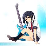 1girl alternate_costume black_hair black_legwear brown_eyes electric_guitar guitar instrument k-on! long_hair looking_at_viewer nakano_azusa necktie pleated_skirt plectrum shian_(my_lonly_life.) skirt smile solo twintails