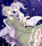 2girls dress eye_contact green_dress green_hair hair_ribbon hand_on_shoulder hat hat_ribbon holding_hands juliet_sleeves long_sleeves looking_at_another miiko_(somnolent) mononobe_no_futo multiple_girls petals ponytail puffy_sleeves ribbon silver_hair smile soga_no_tojiko touhou turtleneck violet_eyes wide_sleeves yellow_eyes