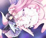 2girls akemi_homura black_hair boots bow choker dress eye_contact goddess_madoka hair_bow hairband kaname_madoka long_hair looking_at_another mahou_shoujo_madoka_magica multiple_girls pantyhose pink_hair purple_hair skirt smile soranagi very_long_hair yellow_eyes