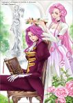 book code_geass cornelia_li_britannia dress euphemia_li_britannia head_wreath long_dress long_hair pink_hair purple_hair siblings sisters sitting smallw smile violet_eyes