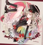 1girl axe bow couch dress elbow_gloves frilled_dress frills gloves hair_ornament kneehighs lolita_fashion long_hair mayu_(vocaloid) michi_(iawei) multicolored_hair piano_print smile solo umbrella vocaloid weapon yellow_eyes