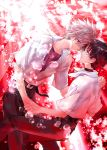 2boys blue_eyes brown_hair bubble evangelion:_3.0_you_can_(not)_redo grey_hair holding_hands ikari_shinji multiple_boys nagisa_kaworu neon_genesis_evangelion rebuild_of_evangelion red_eyes ro-a underwater