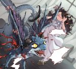 1girl black_hair blood blush character_request closed_eyes curtains dragon dutch_angle fang holding_head injury long_hair slippers solo sword_girls tears tongue wavy_hair window wings wooni