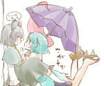 2girls ? aqua_hair blush capelet eye_contact geta grey_hair karakasa_obake kenoka looking_at_another multiple_girls nazrin short_hair skirt smile tatara_kogasa tongue touhou umbrella yuri