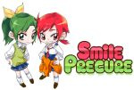 2girls chibi hino_akane lowres midorikawa_nao multiple_girls precure short_hair simple_background skirt smile smile_precure! tima title_drop white_background