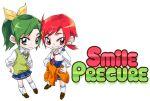 2girls chibi hino_akane lowres midorikawa_nao multiple_girls precure short_hair simple_background skirt smile smile_precure! tima title_drop white_background
