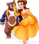1girl bare_shoulders beast_(disney) beast_(disney)_(cosplay) beauty_and_the_beast belle_(disney) blush brown_hair collarbone cosplay disney dress elbow_gloves gloves hand_on_another's_cheek hand_on_another's_face high_heels highres kuitsuku long_hair parody pokemon pokemon_(creature) ponytail scarf shadow shoes simple_background smile transparent_background ursaring