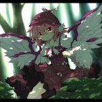 1girl animal_ears bird_wings bow brooch dress earrings forest fuuen_(akagaminanoka) hat jewelry letterboxed long_sleeves mystia_lorelei nature pink_eyes purple_dress shadow shirt solo touhou wide_sleeves
