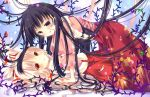 2girls bekotarou black_hair bow fujiwara_no_mokou hair_bow houraisan_kaguya long_hair multiple_girls red_eyes silver_hair suspenders touhou violet_eyes
