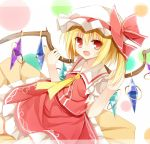 1girl ascot blonde_hair bow fang flandre_scarlet hat hat_bow looking_at_viewer open_mouth pink_eyes puffy_sleeves shirt short_sleeves side_ponytail sitting skirt skirt_set smile solo touhou vest wing_grab wings yuuhagi_(amaretto-no-natsu)
