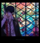 1boy ao_no_exorcist black_hair blue_eyes leo-time necktie okumura_rin pointy_ears school_uniform solo stained_glass striped striped_necktie sword weapon