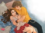 1boy 1girl bed blush brown_eyes brown_hair cellphone couple green_eyes hetero hug long_hair original phone pillow short_hair skirt smile t-shirt watch watch wooni