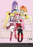 4girls aono_miki blonde_hair cure_berry cure_passion cure_peach cure_pine fresh_precure! higashi_setsuna long_hair magical_girl momozono_love multiple_girls open_mouth orange_hair pantyhose pink_hair precure purple_hair short_hair simple_background smile tima twintails yamabuki_inori